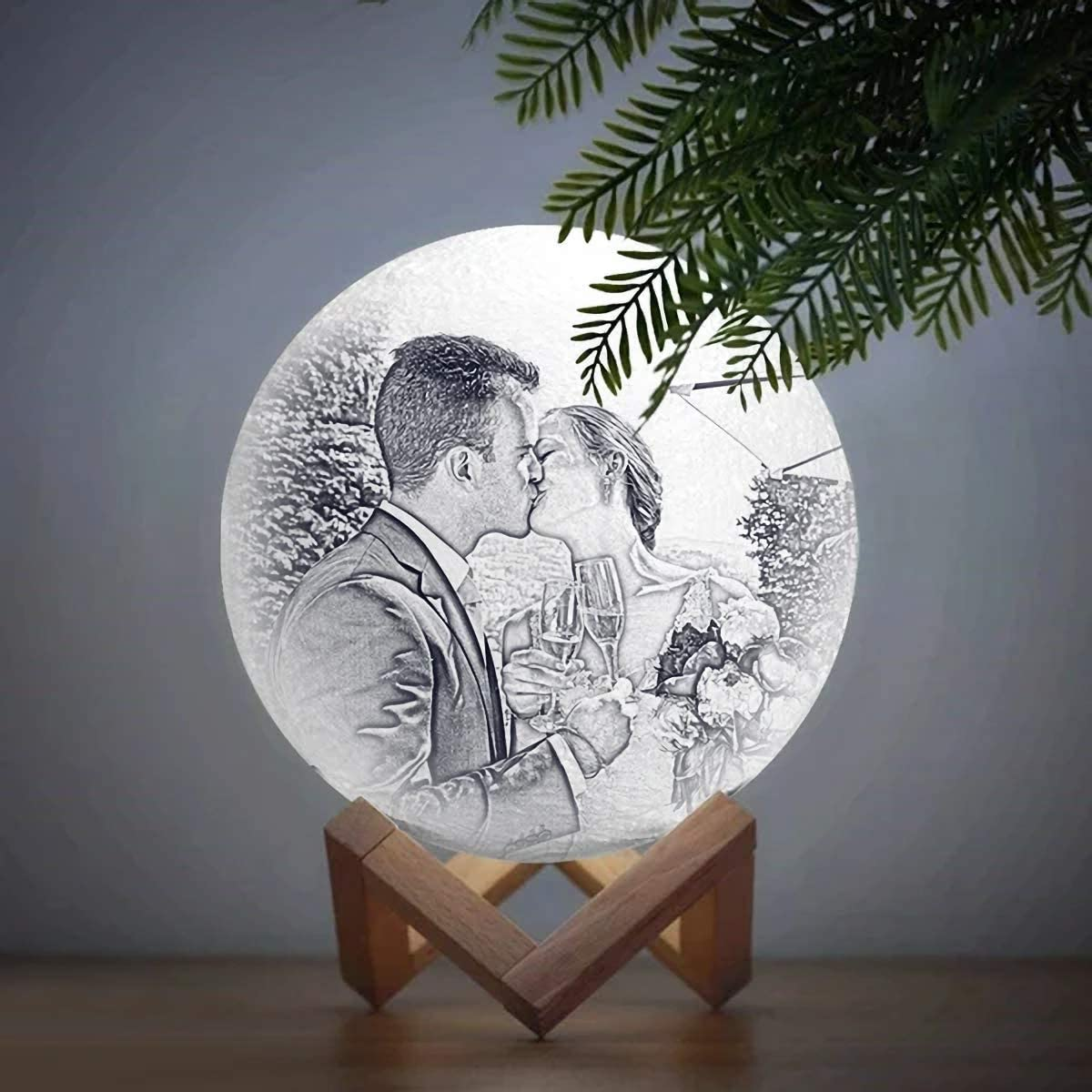Personalisierte Nachttischlampe mit Eigenem Foto und Text Nachtlicht 3D Bedrucken 16 Farben Touch Dimmbar Led Mondlampe Bild Selbst Gestalten Sternenhimmel f/ür Baby Kinder Freund Zimmer Geschenk