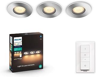 Philips Hue Adore 3 focos empotrables Inteligentes LED con Bluetooth, Luz Blanca de Cálida a Fría, Compatible con Alexa y Google Home