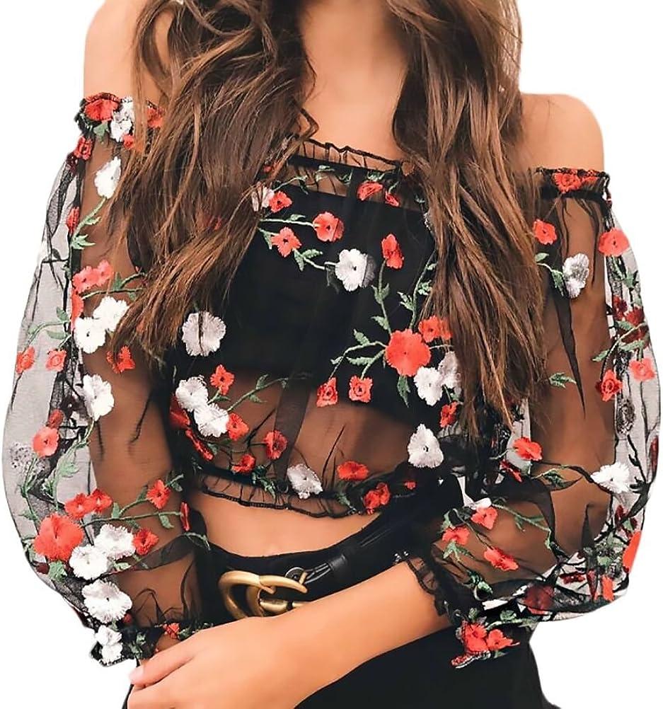Crop Top Mujer Primavera Camisetas T-Shirt Manga Larga Transparentes Tul Sin Hombro Camisas Elegantes Vintage Moda Bordadas De Flores Blusas Camiseta ...