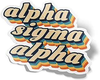 Desert Cactus Alpha Sigma Alpha 70's Letter Sticker Decal Greek Tall for Window Laptop Computer Car ASA