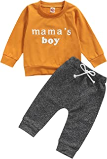Toddler Baby Boy Fall Outfits Long Sleeve Letter Print Sweatshirt Tops and Camouflage/Moon Pattern Pants Clothing Set