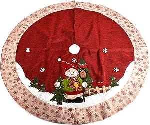 GSYYSZD Sapin de Noël Jupe, Décoration de Noël Bonhomme de Neige Flocon de Neige d'arbre Tapis de Base Couverture Jute Holiday Party Décor Maison Ornement (120cm)