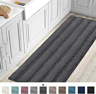 Striped Luxury Chenille Bathroom Rug Mat Runner Oversized 59×20 Inch Extra Soft and..