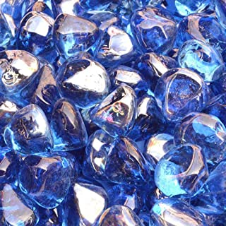 Stanbroil 10-Pound 1/2 Inch Fire Glass Diamonds for Fireplace Fire Pit, Royal Cobalt Blue Luster