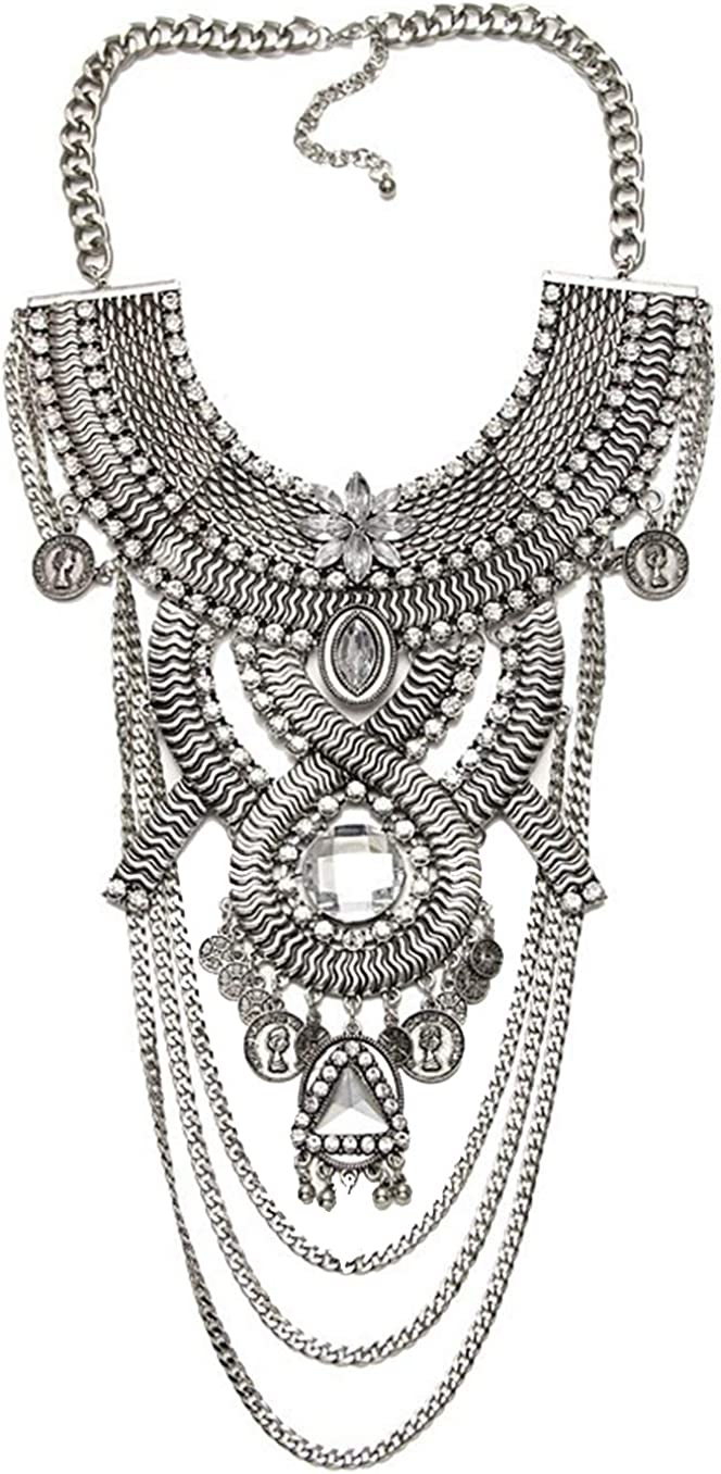 Ufraky Womens Ethnic Tribal Boho Pendant Chain Necklaces Max 89% Regular store OFF Crystal