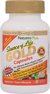 NaturesPlus Source of Life Gold - 90 Vegetarian Capsules - All Natural Whole Food Multivitamin, Complete Daily Vitamin Profile, Energy Booster - Gluten-Free - 10 Servings