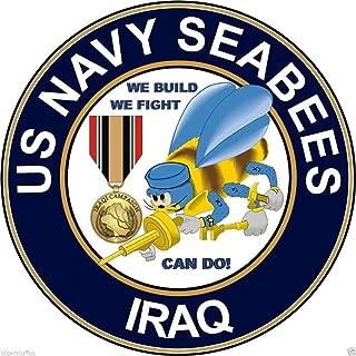 MFX Design Us Navy Seabees Iraq Veteran Bumper Sticker Decal Laptop Sticker Decal Round Vinyl - Made in USA 3 in. Around