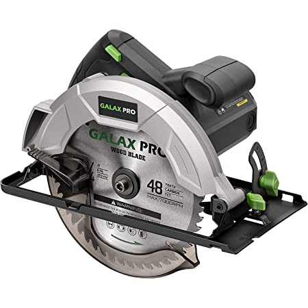 """GALAX PRO Circular Saw 10A 5800 RPM Hand-Held, Bevel Angle(0 to 45°) Joint Cuts with 7-1/4 Inch Blade, Adjustable Cutting Depth (1-5/8"""" to 2-1/2"""") for Wood and Logs Cutting-GP76331"""