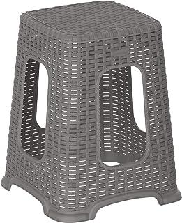Cosmoplast Plastic Rattan Wicker High Stool, Grey, Cosmoplast Rattan High Stool, IFHHXX327G6