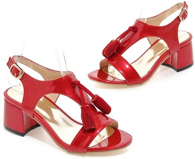 Ladiamonddiva Sandals Pumps Woman Square Heel shoes Women Fashion Tassel High Heel Sandals Female Buckle Strap Footwear Heeled shoes Size 31-43 Red 5