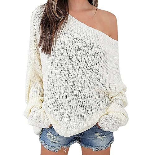 abe8d25f4b6d Exlura Women s Off Shoulder Sweater Batwing Sleeve Loose Oversized Pullover  Knit Jumper