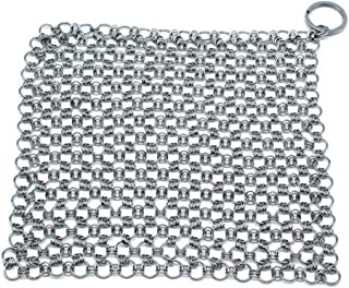 Emoly Cast Iron Cleaner, Durable 316L Stainless Steel Chainmail Scrubber, Anti-Rust Chain Cleaner for All Types of Skillet Griddles, Cast Iron Pans, Grills & Dutch Ovens
