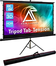 Akia Screens 92 inch Tab Tension Pull Up Projector Screen with Tripod Stand and Bag, 4:3 16:9 8K 4K HD, Black Retractable ...