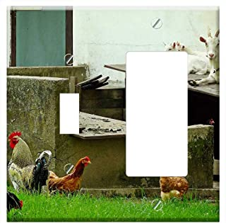 1-Toggle 1-Rocker/GFCI Combination Wall Plate Cover - Goats Chickens Animals Country Life Farm Stal
