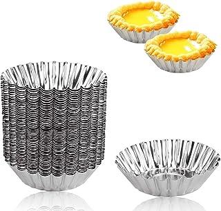 BILLIOTEAM 50PCs Stainless Steel Mini Egg Tart Cupcake Cake Cookie Mold,3 Inch Small Tart/Pie Pan Portuguese Tart Baking M...