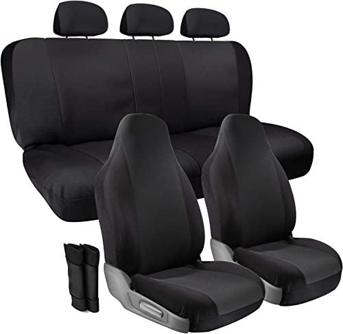 lowest OxGord Padded Cloth Seat Cover Set with Grip Control & Seat Belt Pads for Front High Bucket & new arrival Rear Solid or Split Bench - Universal, Non-Slip Fit for Automotive outlet online sale Car, Truck, SUV, Van - 10pc Set, Black outlet sale