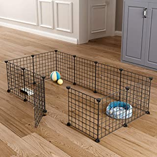 MAGINELS Pet Playpen, Small Animal Cage Indoor Portable Metal Wire Yard Fence for Puppy Small Animals, Guinea Pigs, Rabbits Kennel Crate Fence Tent, Black (12 Panels)