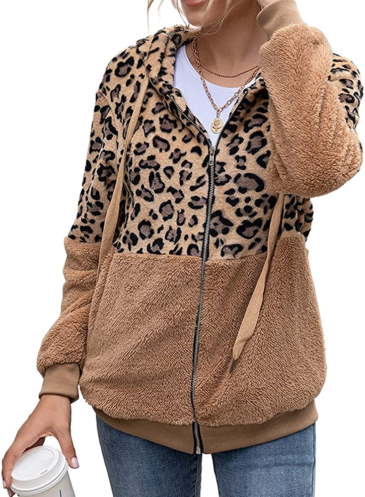 Beisinuo Women's Leopard Print Stitching Fleece Outerwear Jacket Casual Hoodie Sweater Jacket with Pocket