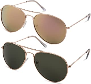 Classic Aviator Pilot Flat LensSunglasses with Protective Bag, 100% UV Protection