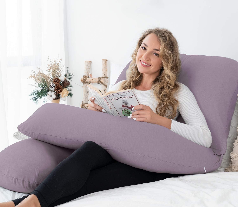 Queen Rose Housse de coussin de grossesse amovible en forme de U pour coussin de grossesse (violet) 157-j - Violet