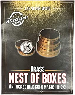 Brass Nest of Boxes - An incredible coin magic trick!