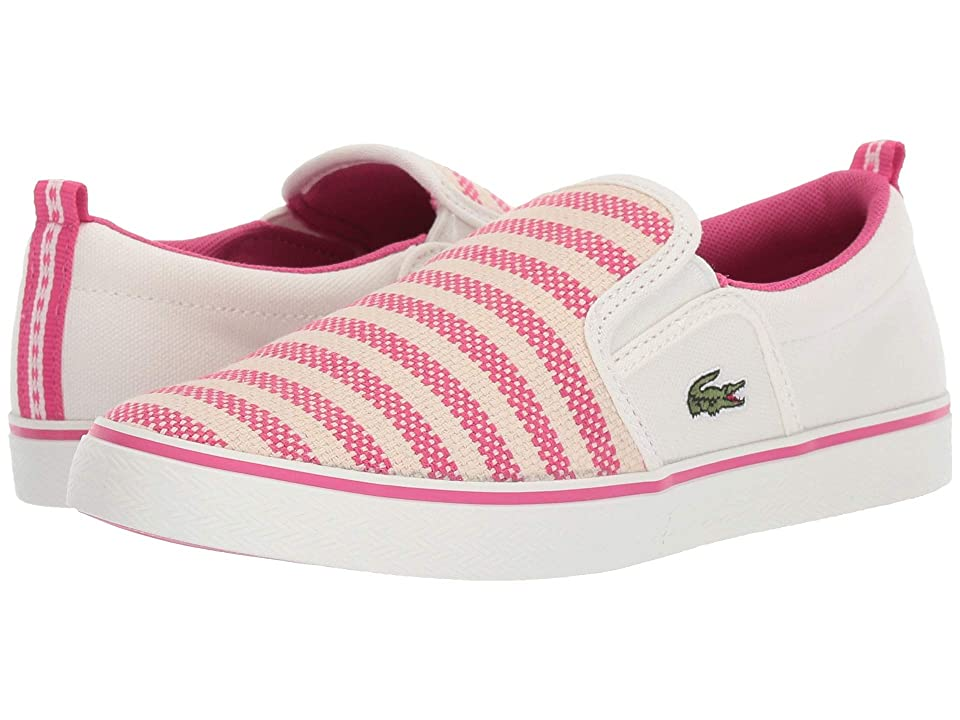 Lacoste Kids Gazon 119 1 CUC (Little Kid) (Off-White/Dark Pink) Girl