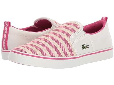 Lacoste Kids Gazon 119 1 CUC (Little Kid) (Off-White/Dark Pink) Girl