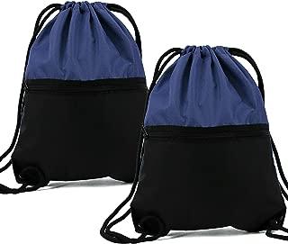 Gym Drawstring Backpack for Sports 2 Pack with Zipper Pocket Drawstring Bags for Men Women Black/Navy