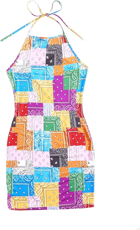 SweatyRocks Women's Paisley Patchwork Print Tie Back Halter Backless Bodycon Dress