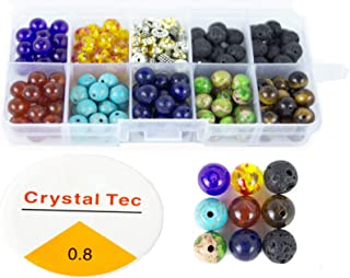 260 Pcs 8mm Colorful Seven Chakra Energy Beads(Includes 8 Different Chakra Beads and 4 Different Isolation Beads).for The Production of Bracelets and Necklaces.Send 11m Elastic Rope a roll.