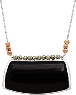 Sable' Natural Black Agate & Pyrite Pendant Necklace in Sterling Silver & Copper