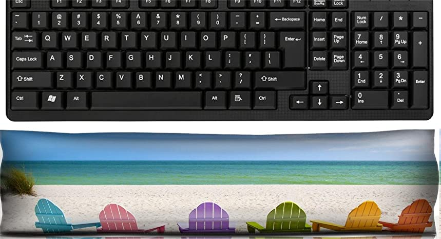 Liili Keyboard Wrist Rest Pad Office Decor Wrist Supporter Pillow Adirondack Beach Chairs on a Sun Beach in front of a Holiday Vacation Travel house IMAGE ID 28950860