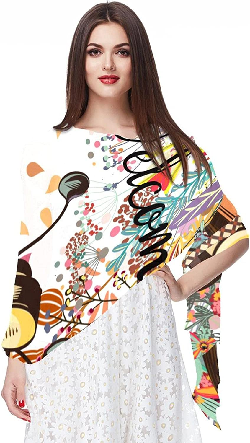 Scarfs for Women Lightweight Fashion Scarves Print Floral Pattern Scarf Shawl Wraps, Flowers And Bike