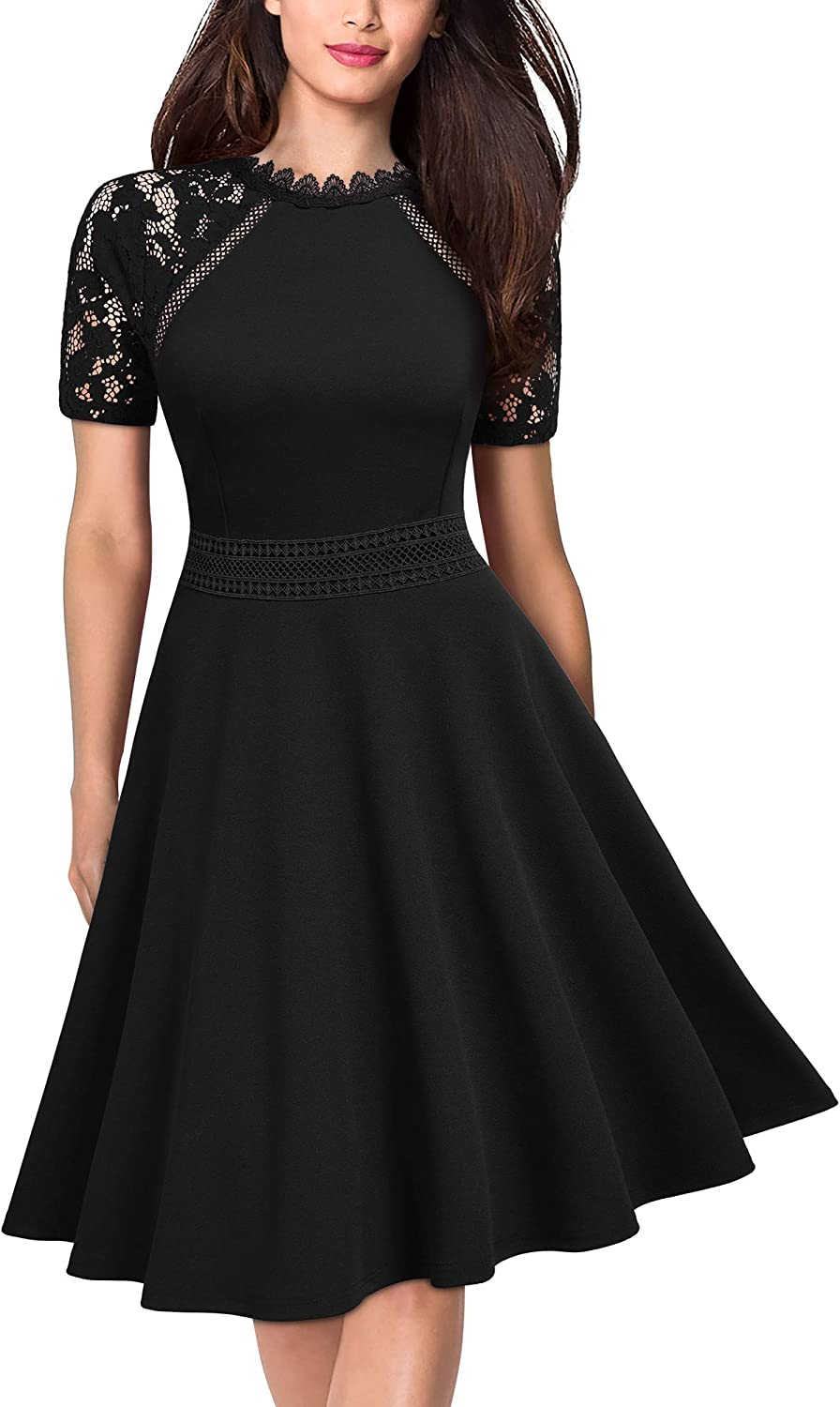 MISSMAY Women's Retro Floral Lace Short Sleeve Cocktail Party Swing A-Line Dress