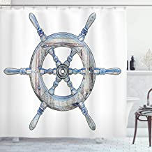 Ambesonne Nautical Shower Curtain, Illustration of a Wooden Ship Wheel Over White Backdrop Sail Exploring Ocean Theme, Cloth Fabric Bathroom Decor Set with Hooks, 84