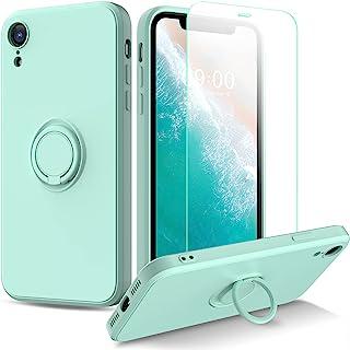 Hjioape for iPhone XR Case, Liquid Silicone Anti Scratch Slim iPhone XR Phone Case with Screen Protector Gel Rubber Full B...