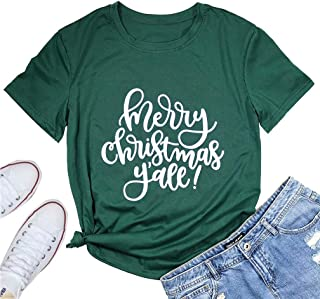 Womens Merry Christmas Y'all Shirt Top Short Sleeve Christmas Letter Print Funny Graphic T Shirt Tee