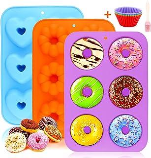 Moules à Donuts en Silicone, 3 Patisserie Moule Silicone AntiadhéSif avec 6 CavitéS Moulle A Donuts Cake Factory Pour Les ...