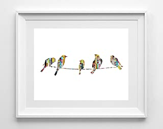 'Chick Chatter' | Birds on a Wire Silhouette Magazine Strip Art Print