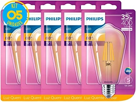 Lâmpada Led Filamento Retro Vintage 4w ST64 Philips Kit 5 pç