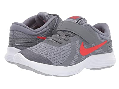 Nike Kids FlyEase Revolution 4 (Little Kid) (Cool Grey/Habanero Red/Wolf Grey/White) Kids Shoes
