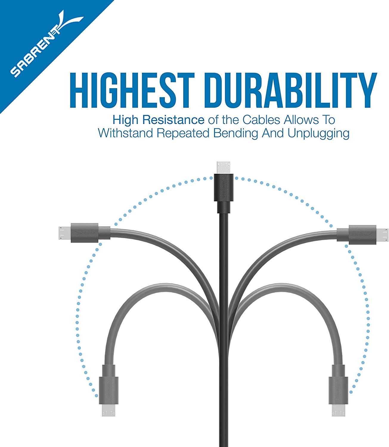 Sabrent [6-Pack] 22AWG Premium 1ft Micro USB Cables High Speed USB 2.0 A Male to Micro B Sync and Charge Cables [Black] (CB-UM61)