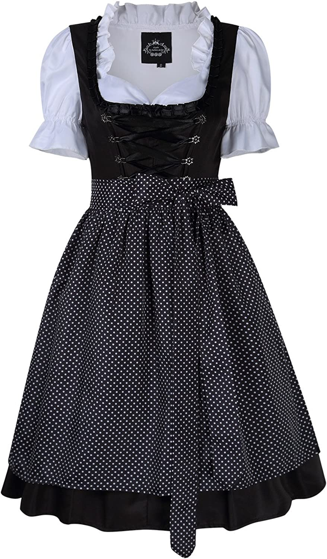 Aoile Women's Oktoberfest Fraulein Costume Short Sleeve Dirndl Dress Three PCS Suit with Black Dot Lace Trim L