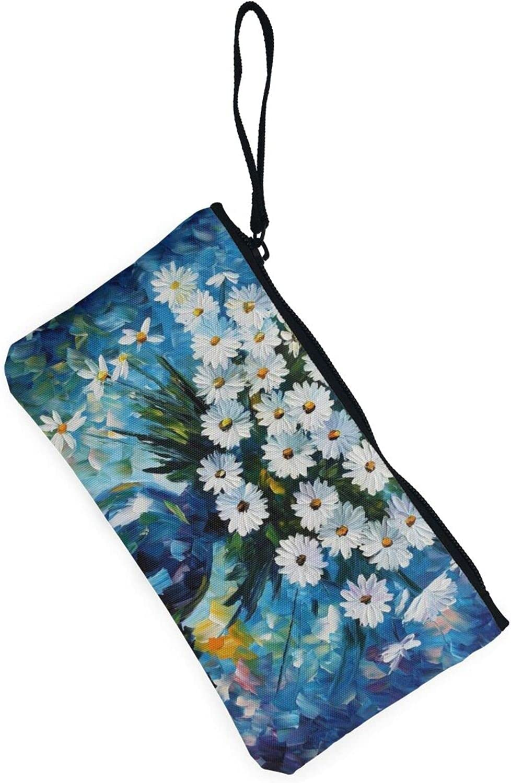 AORRUAM white daisies flowers Canvas Coin Purse,Canvas Zipper Pencil Cases,Canvas Change Purse Pouch Mini Wallet Coin Bag