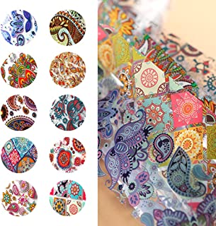 10 Sheets Paisley Colorful Nail Transfer Foil Transfer Stickers Nail Art Foil DIY Nail Art Decals Starry Sky Foil Stickers