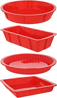 4 Piece Bakeware Set - Baking Molds - Nonstick Silicone Bakeware Set with Round, Square, and Rectangular Pans for Pies, Cakes, Loaf, and More - Red, Sizes: 10.5