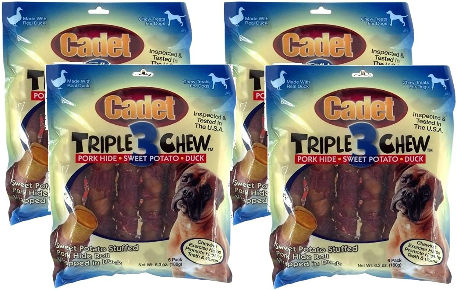 4 Packages of Cadet Duck Triple Chew Dog Treats, 6Count Each (24 Chews Total)