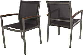 Emma Patio Dining Chairs - Aluminum - Outdoor Mesh Seats - Faux Wood Arms - Set of 2 - Silver with Gray and Natural Finish