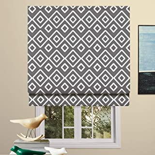 Artdix Roman Shades Blackout Window Shades - Grey 20.5 W x 36L Inches Fabric Lined Custom Geometric Roman Shades Blinds for Windows, Doors, French Doors, Kitchen Windows