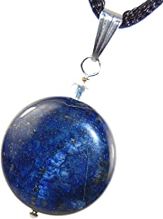 Steampunkers USA Celestial Collection - 20mm Full Moon Disc Lapis Lazuli Blue Golden Pyrite - 20-22 Inch Adjustable Black Cord – Crystal Gemstone Collectibles Carved Necklace Handmade Charm